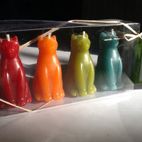 Beeswax Cat Candles, 4-Pack Giftboxed