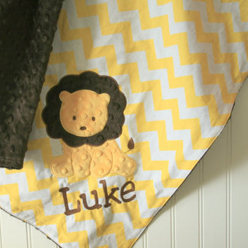 Lion baby Blanket - Lion applique and Name Included  - You pick Fabrics and Colors - Design your Own
