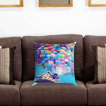 Up Balloons Flying House Pillow Cover , Custom Zippered Pillow Case One Side Two Sides