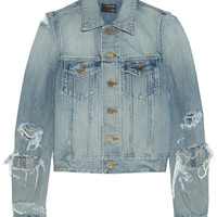 Saint Laurent - Cropped distressed denim jacket