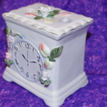 Adorable Decorative Ceramic Clock Figurine (Not a Real Clock) With Floral Print Coin Bank