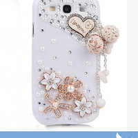 Cyber Monday Etsy Vans Bling Crystal Diamonded Dangling Wooden Heart Phone Hard Cover Case for Samsung i9300 Galaxy S3