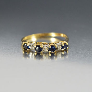 Vintage Gold Diamond Sapphire Eternity Band Ring