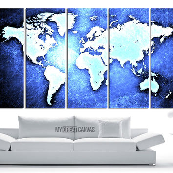 Large Wall Art Canvas WORLD MAP on Metal Iron Background Print - World Map 5 Piece Canvas Art Print - Ready to Hang - 5 Color World Map
