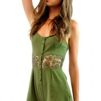 Mad Hatter playsuit in Khaki  | Show Pony Fashion online shopping