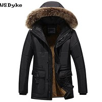 Thick Warm Winter Parkas Casual Padded Jackets And Coats With Fur Hood