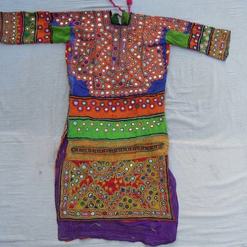 Kutchi Banjara Tribal Dress , Indian Vintage Fabric , Old Mirror Handmade Pakistani Dress , Belly Dance Choli Blouse Dress, Banjara Yoke