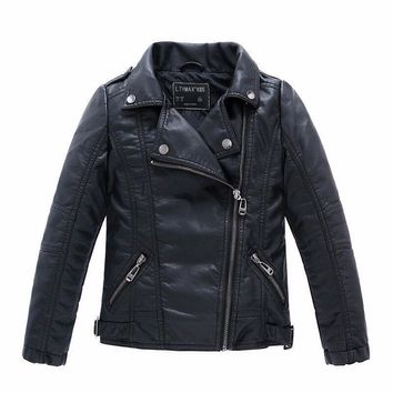 Brand Fashion Children Outerwear Coat Waterproof Baby Boys and Girls Leather Jackets For Age 1-14 Years Old