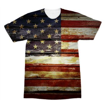 Retro American Flag on Wood Planks American Apparel Sublimation T-Shirt