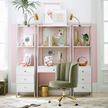 Highland Wall Desk + Narrow Bookcase with Drawers Set