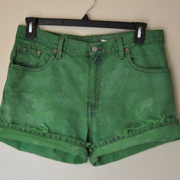 "Green 34"" Waist Vintage Levi's Denim SHORTS - Hand Dyed Green Urban Style Denim High Waisted Vintage Shorts - Womens Juniors Size 13 (34"")"