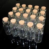 20 Pcs 1.8ml Empty Clear Glass Bottle With Cork D16xH32mm For Wedding Decoration (Size: 1.8 ml, Color: White) = 1932887620
