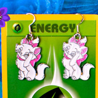 Diseny Aristocats Inspired Earring, Sweet Marie, Jewellery, Geekery accessory, diseny Earring, dangle ear piercing, White Cat, Cosplay