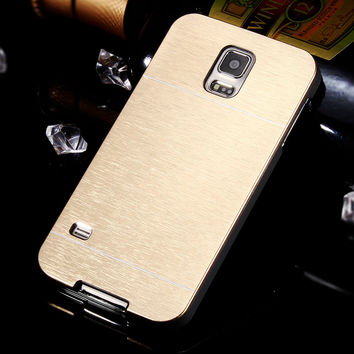 Hot Aluminum Metal Gold Case For Samsung Galaxy S5 i9600 PC Plastic with Logo Accessories Hard Back Cover Luxury for Galaxy S5