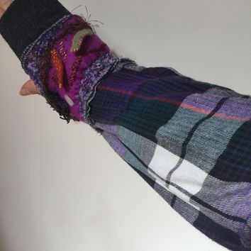 Long to short convertable up-cycled sleeves fingerless arm warmer gloves