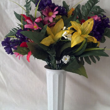 Mausoleum Flower Arrangement with Yellow and Orange Tiger Lilies