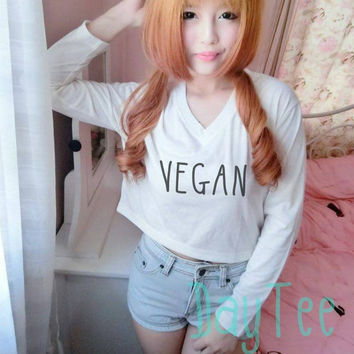 Vegan tshirt Cream Long sleeve crop shirt S M L XL women tshirts