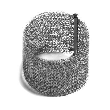 Wide Oxidized Silver Cuff Bracelet , Wire Crochet Cuff,  Handmade Urban Jewelry , Fashion Forward