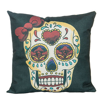 "18"" x 18"" Cotton Linen Square Throw Pillow Case Cushion Cover Skull Pattern  P1001"