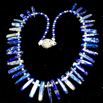 "16.5"" Lapis Lazuli Blade Necklace with silver, Silver box clasp"