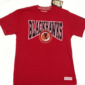 Chicago Blackhawks Mitchell & Ness Short Sleeve T Shirt Size L