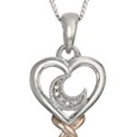 Sterling Silver and Rose Gold Plated Diamond Accent Heart, Moon, and Star in Key Pendant Necklace, 18""