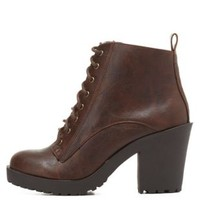 Chunky Heel Lug Sole Combat Booties by Charlotte Russe