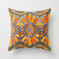 Celebrating the 70's - tangerine orange watercolor on grey Throw Pillow by Micklyn