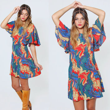 Vintage 70s PSYCHEDELIC Mini Dress Hippie Dress SWIRL Print FLUTTER Sleeve Boho Dress
