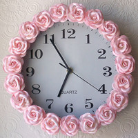Exquisite Rose Pink Rose Wall Clock - $59.00 - The Bella Cottage