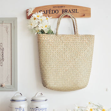 Straw Bag, Flower Basket, Hand Bag, Dry Goods Market Bag, Cottage Soul Home Decor