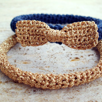 Bow bracelet, Navy blue bracelet, Bangle, Prom bracelet, Corsage bracelet, Navy blue and gold, Crochet rope, FREE SHIPPING