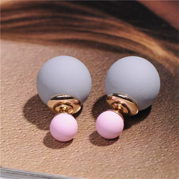 2016 Newest High Quality Double Faced Pearl Stud Earrings for Women 19 Candy Colors Mix Women Korea Rubber Fashion Jewelry