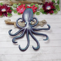 Cast Iron Painted Octopus, Octopus Wall Decor, Kraken Wall Decor