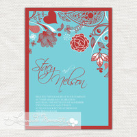 Aqua / Tiffany Blue and Red  Printable Wedding by lemonademoments