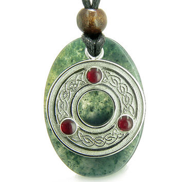 Amulet Celtic Triquetra Protection Knot Moss Agate Good Luck Pendant Necklace