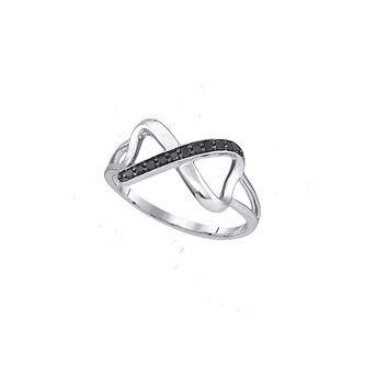 Sterling Silver Black Colored Diamond Womens Infinity Love Band Ring 1/10 Cttw