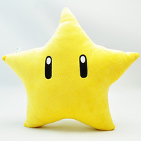 Super Mario Bros Plush Toys 26cm Yellow Power Star Pillow Soft Stuffed Plush Toys Doll Mario Cushion Children Toy Christmas Gift