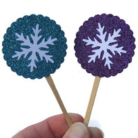 Frozen Party Cupcake Toppers - Set of 12 - Snowflake Decorations