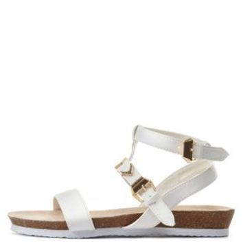 Chevron-Studded Flat Gladiator Sandals by Charlotte Russe