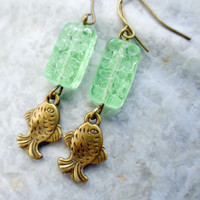 Mint Green Sea Glass Inspired Fish Earrings in Bronze w Premium Czech Glass Beads ~Summer Ocean Resort Beach Style Perfect Mother's Day Gift
