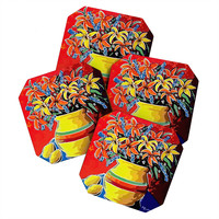 Renie Britenbucher Stylized Lillies And Lemons Coaster Set