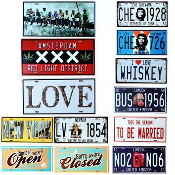 AMSTERDAM license plate Metal Painting Retro Signs  Bar  Coffee Home Art Living Room Wall  Decoration  30X15CM  B-74