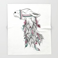 Llama Throw Blanket by LouJah | Society6