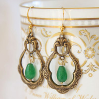 Green chandelier earrings. Fleur de Lis. Green drop earrings.