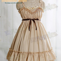 Dolly Kei Mix Lolita Empire Waist Basic Frilly JSK/Dress*2colors