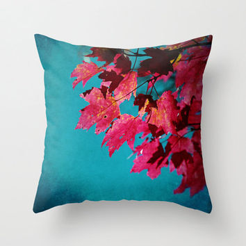 Cherry Red Maple Leaves on Teal Blue Sky - Fall Color - Throw Pillow Cover -