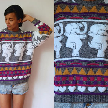 Vtg Dancing Elephants & Hearts Print Grey White Pink Yellow Retro Sweater