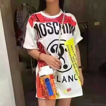 Moschino Women Fashion Long Tunic Shirt Top Blouse
