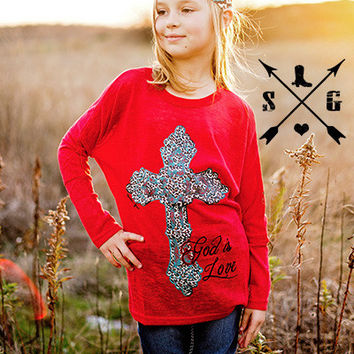 Kids Leopard Red Tunic God Is Love by Southern Grace